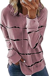 Effeltch Oversized Womens Casual Stripe Print Long Sleeve Hoodies Tunic Tops