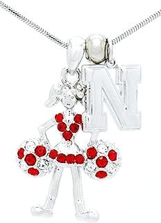 Violet Victoria & Fan Star College Cheerleader Necklace - Cheer Necklace - Crystal Moving Cheer Necklace