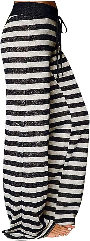 MIVAMIYA Yoga Pants with Pockets for Women Striped Comfy Palazzo Pants Elastic Waist Wide Leg Soft Pajamas Casual Trousers