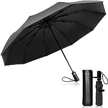 TOPLUS Paraguas Plegable Automático Impermeable 10 Armazones de Metal Compacto Resistencia contra Viento para Viaje para Hombres y Mujeres (Negro)
