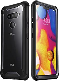 i-Blason Ares Designed for LG V40 Case, LG V40 ThinQ 2018 Release, Full-Body Rugged Clear Bumper Case with Built-in Screen Protector, Black