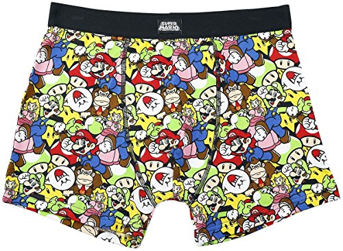 Meroncourt Nintendo Super Mario Bros. Mario & Friends Boxer Shorts, Multicoloured, Small Homme
