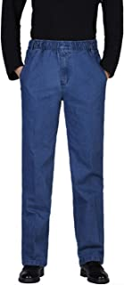 Locachy Men's Elastic Waist Denim Pants Casual Loose Straight Jeans
