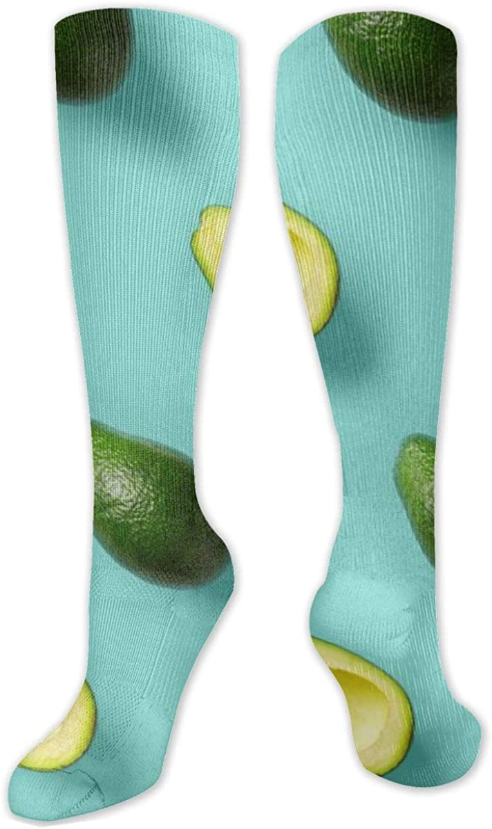 Green Flesh Avocado Pattern Knee High Socks Leg Warmer Dresses Long Boot Stockings For Womens Cosplay Daily Wear