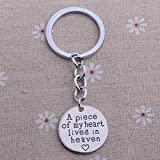 NO BRAND A Piece of My Heart Lives In Heaven Key Ring Keyring Women Men Gifts Keychain Key Chain Jewelry Charm Silver Plated