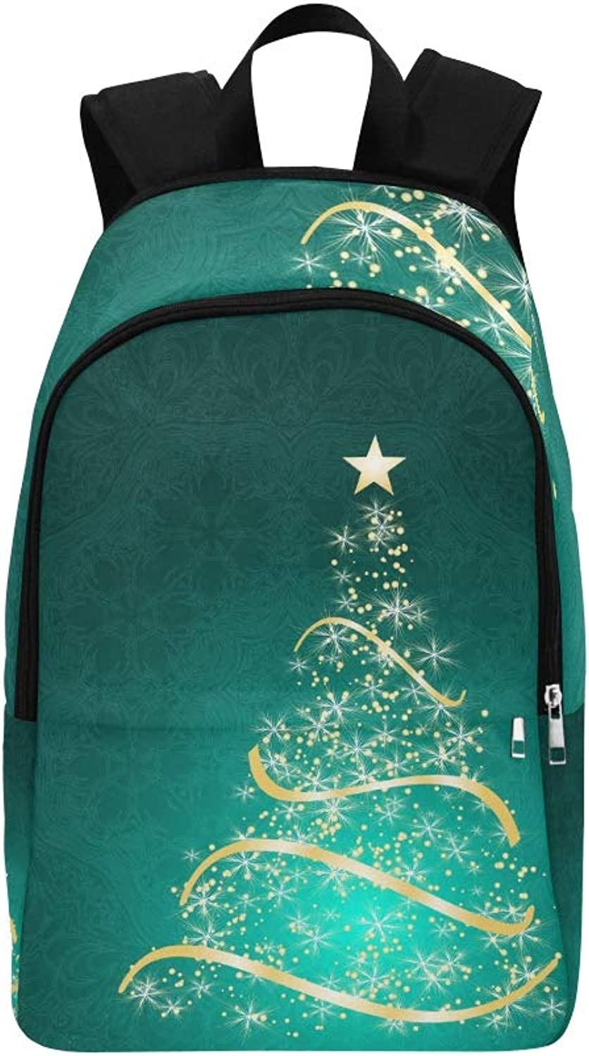 Stylized Christmas Tree On Decorative Casual Daypack Travel Bag College School Backpack for Mens and Women