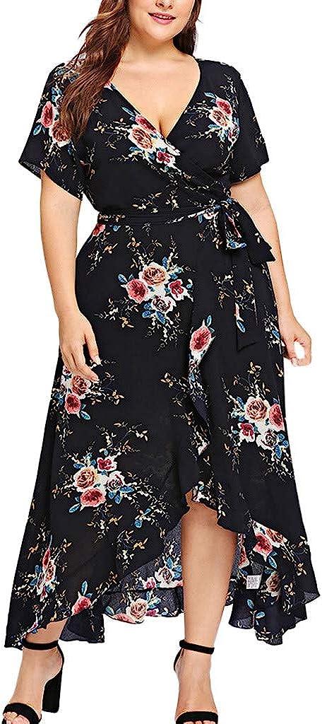 Dealing Max 41% OFF full price reduction KYLEON Women Dress Plus Size Short Ban V-Neck Sleeve Floral Boho