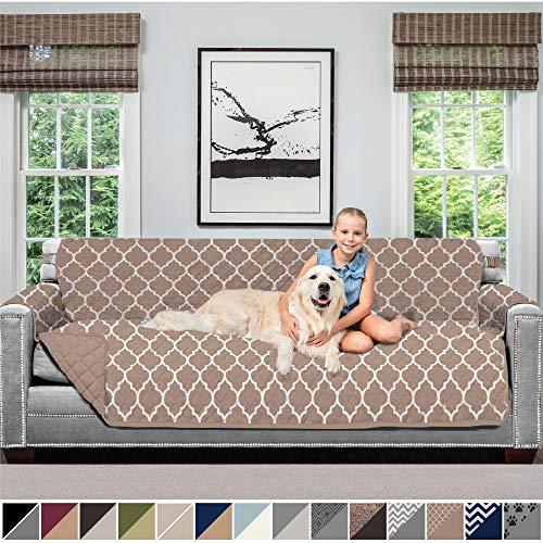 Sofa Shield Original Patent Pending Reversible X-Large Oversized Sofa Protector for Seat Width up to 78 Inch, Furniture Slipcover, 2 Inch Strap, Couch Slip Cover Throw for Dogs, Sofa, Quatrefoil Mocha
