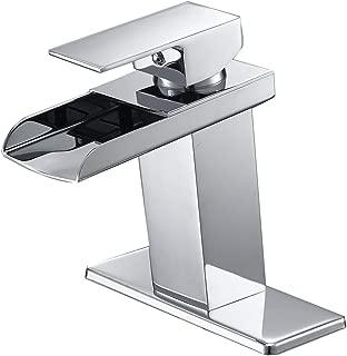 Bathfinesse Modern Single Handle One Hole Waterfall Bathroom Sink Faucet Lavatory Chrome