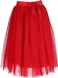 comprar comparacion FEOYA - Falda Tul Mujer Falda Midi Plisada con Cintura Elástica para Uso Diario Oficina Fiesta
