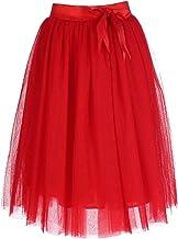 FEOYA - Falda Tul Mujer Falda Midi Plisada con Cintura Elástica para Uso Diario Oficina Fiesta
