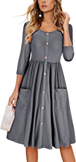 7e0eac98c59 OUGES Women s Long Sleeve V Neck Button Down Skater Dress with Pockets