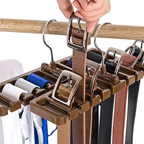 10Ranura cinturón Bufanda Rack Organizador Resistente plástico Armario Armario Ahorro de Espacio Percha cinturón con Gancho de Metal, Beige, 10 Slot