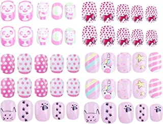 120 pcs 5 pack Children Nails Press on Pre-glue Full Cover Glitter Gradient Color Rainbow Short False Nail Kits Great Christmas Gift for Kids Little Girls - Pink Cartoon Series