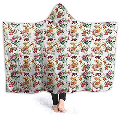 Timdle Sherpa - Poncho para mujer adulta y mujer, diseño de flores lilas, primavera, cálida, suave, acogedora, cómoda, regalo cómodo, sin mangas, 60 W por 50 pulgadas (con capucha), Mezcla de poliéster, Estilo-10, 50'x40'
