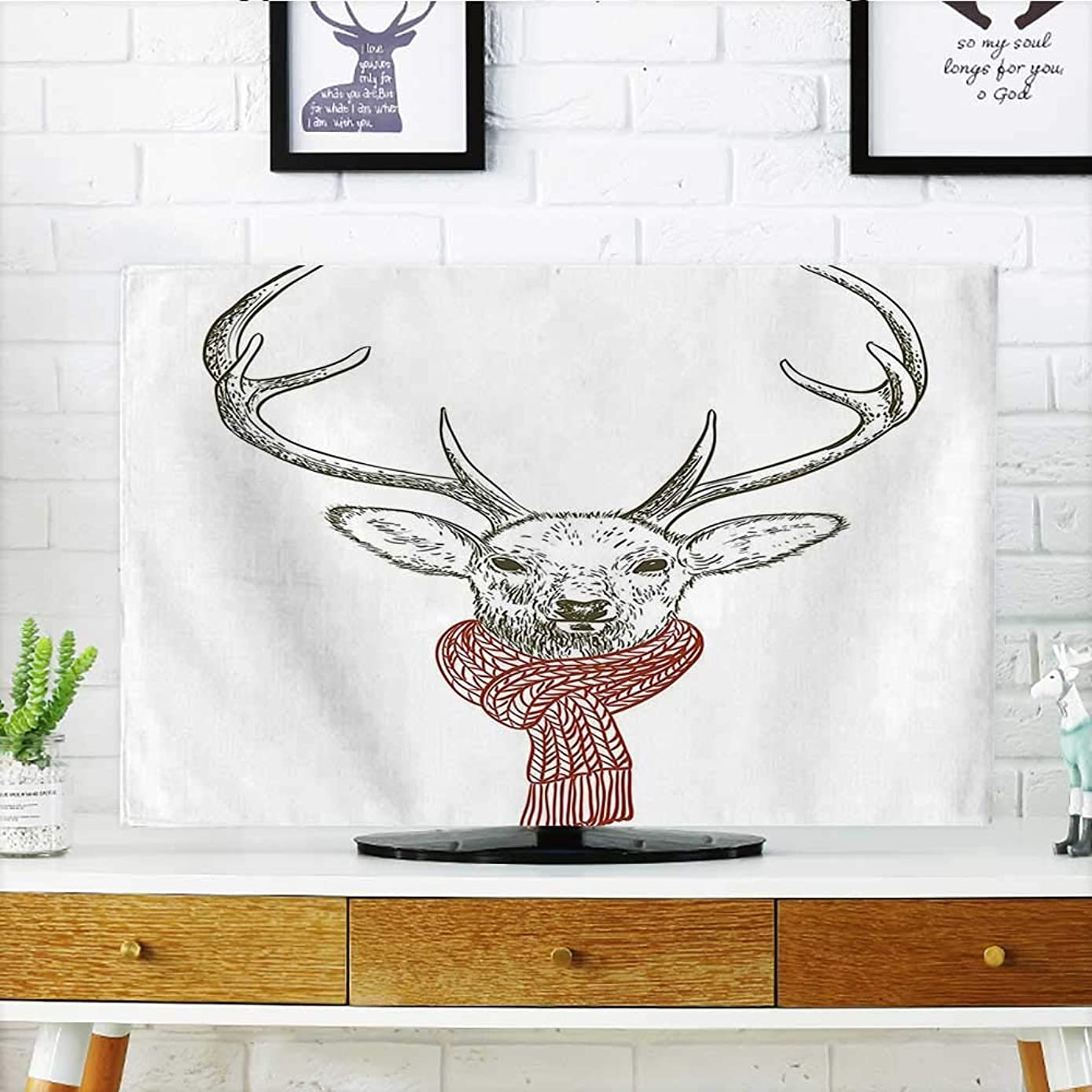 Auraisehome Protect Your TV Illustration of A Deer Wearing Scarf Knitted Neck Wintertime Cold December Seasonal Protect Your TV W35 x H55 INCH/TV 60