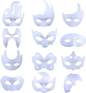 DIY White Mask, 12 PCS Creative DIY Blank Mask Mardi Gras Halloween Party Plain Half Face Masks for Adult Kids …