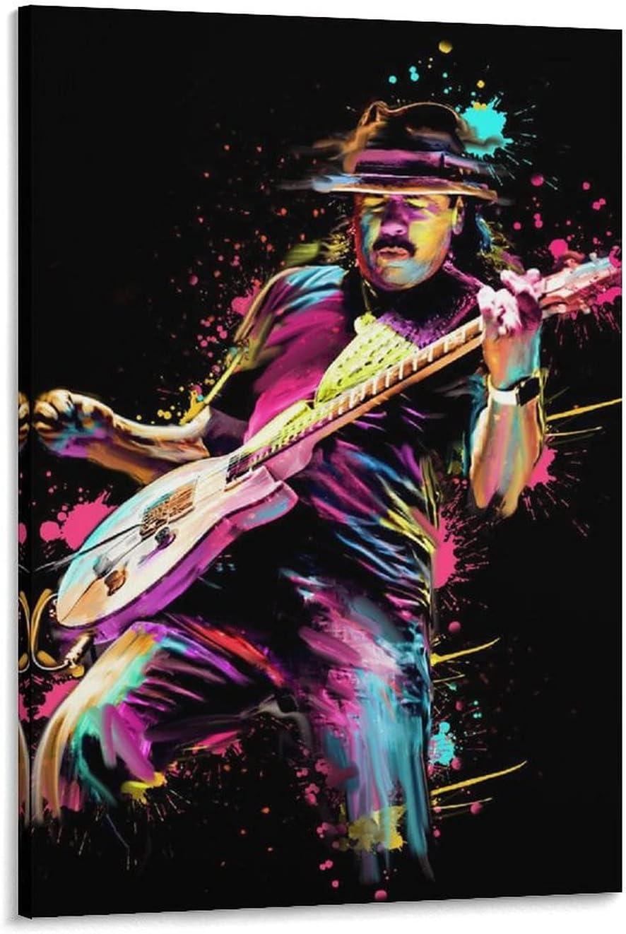 Póster en lienzo de guitarrista latino de rock Carlos Santana, dibujado a mano, lienzo y arte de pared, moderno dormitorio familiar, impresión HD, 40 x 60 cm
