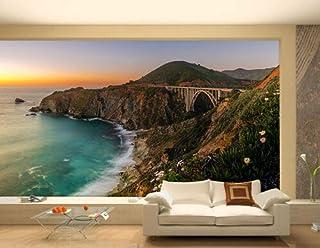 Photo Wallpaper Bixby Bridge Big Sur Clifor Full Wll Murl Photo Print Home 3D-120x100cm-Wall decoration-Poster picture pho...