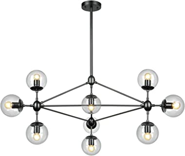 LAMPUNDIT DNA 10-Light Chandelier Black Finish with Globe Glass Shade, Modern Chandelier for Kitchen Island Dining Room Livin