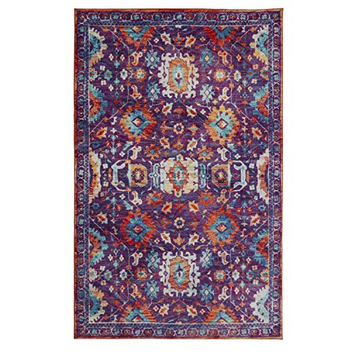 Mohawk Home Z0142 A409 096120 EC Prismatic Springfield Boho Floral Precision Printed Area Rug, 8'x10', Purple