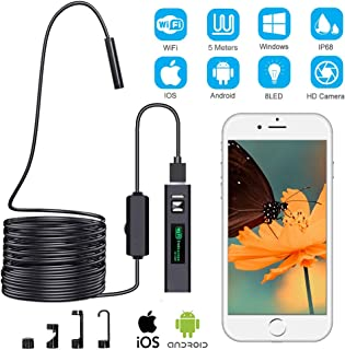Cámara de Inspección Endoscópica Cámara de Inspección Inalámbrica Endoscopio WiFi Boroscopio USB 1200P Impermeable IP68 con Cable Semirrígido de 5 m Compatible con iOS Android Windows Mac