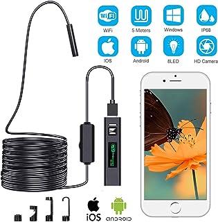 Cámara de Inspección Endoscópica, Cámara de Inspección Inalámbrica, Endoscopio WiFi, Boroscopio USB 1200P Impermeable IP68 con Cable Semirrígido de 5 m, Compatible con iOS, Android, Windows, Mac