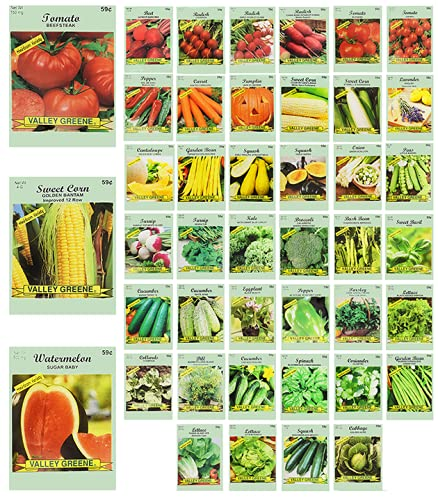 Set of 40 Vegetable and Herb Seeds - Semi Assorted - 100% Non-GMO & Heirloom - Great for Starting a...