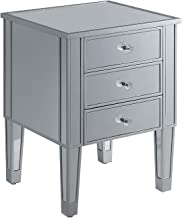 Convenience Concepts Gold Coast 3-Drawer End Table, Mirror/Silver