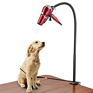 LuckIn Dryer Stand Hands Free, Stainless Steel Heavy Duty Table Blow Dryer Holder 360 Degrees Rotation with Adjustable Clamp and No-Sit Haunch Holder, Third Arm for Hair Styling, Pet Grooming