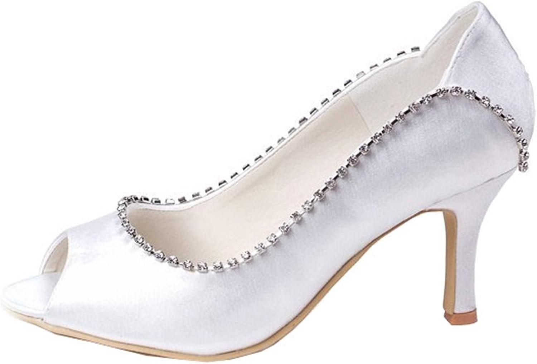 Minishion GYMZ637 Womens Open Toe Kitten Heel Satin Rhinestone Bridal Wedding shoes