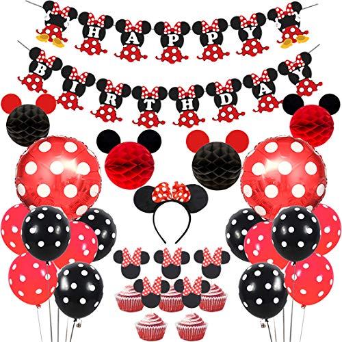 Artículos decorativos para fiestas del Minnie Mouse rojo negro, bolas Mickey Honeycomb, pancarta de feliz cumpleaños, diadema, adornos para pasteles para el cumpleaños de niñas