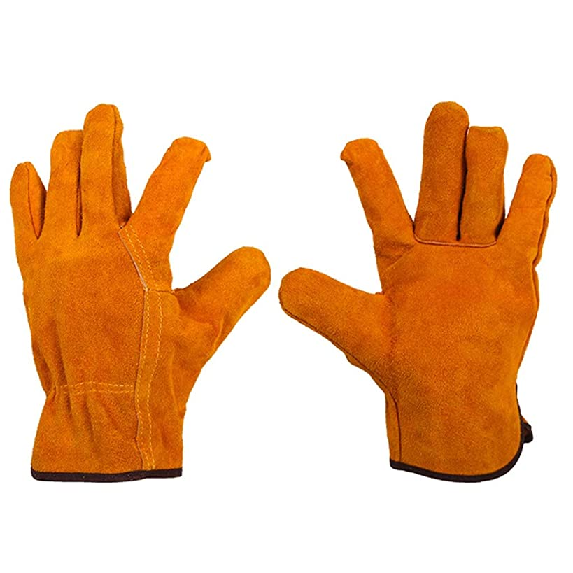 BJLWTQ Heavy Duty Gardening Gloves for Men & Women, 1 Pairs Thorn Proof Leather Work Gloves, Waterproof Slim-Fit Reinforced Rigger Gloves, Durable and Flexible (Color : Yellow)