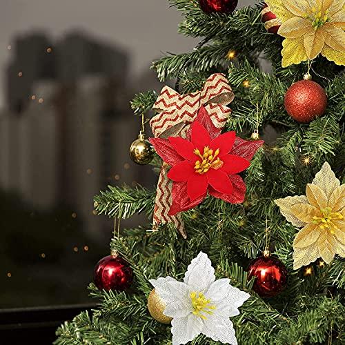 zmmuh Pascua de brillo de Navidad artificial, flor de seda adornos de...