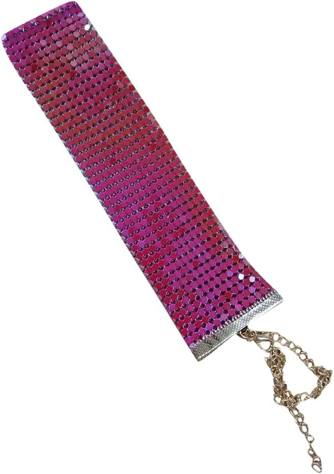 Evangelia.YM Women Sequins Choker Necklace Teens Girl Personality Charm Sequin Neck Collar Adjustable Premium Alloy Colorful Necklace Ladies Jewelry (Hot Pink)