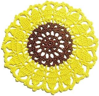 Posavasos redondo amarillo y marrón en forme de girasol de ganchillo - Tamaño: ø 16 cm - Handmade - ITALY