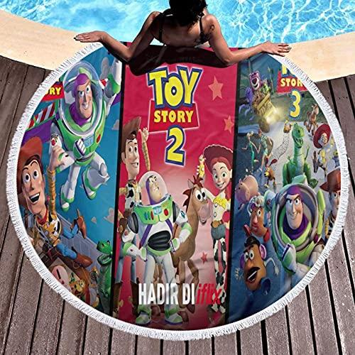 Cute Pillow Toy Story - Toalla de playa de microfibra gruesa y redonda, de secado rápido