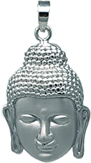 Carat Cafe Men's Pure Sterling 925 Handcrafted Smiling Buddha Face Head Pendant For Symbol Of Wisdom & Enlightenment { Net...
