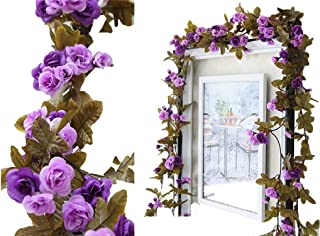 Lannu 2 Pack Artificial Rose Vine Flowers Fake Garland Ivy Flowers Silk Hanging Garland Plants for Home Wedding Party Decorations, (Purple)