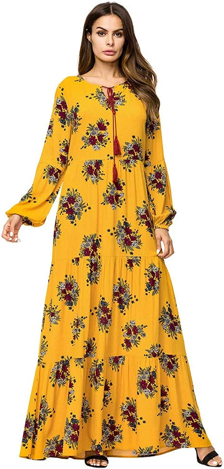 Dresses Tall Long Sleeves and Large Dresses Printed Cotton Dress Ladies Dress Long Maxi Dress (color   Photo Colo, Size   M)