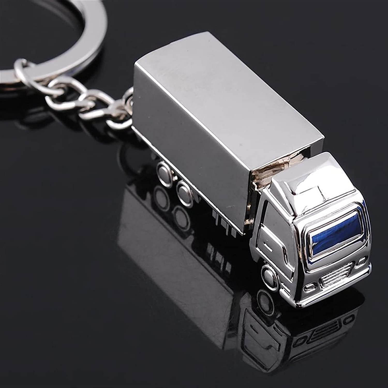 ASZX Mini Metal Truck Key Ring Lorry Car Keyfob Keychain Creative Gift Lovely Keyring for Women Men 804 (Color : Silver, Size : 36 x 16 x 13mm)