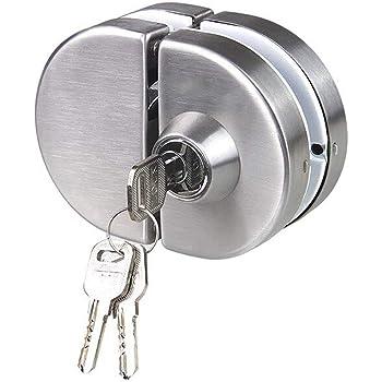 NUZAMAS Cerradura de puerta de vidrio doble Acero inoxidable 304, cerrojos de puerta abiertos sin marco de ambos lados para vidrio de 10-12 mm de espesor, hardware de oficina en casa: Amazon.es: