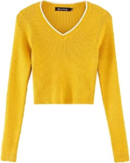 Womens V Neck Slim Fit Warm Sexy Warm Long Sleeve Pullover Knitted Loose Jumper Crop Tops Sweater