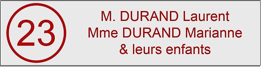 Zelfklevende pvc-brievenbusplaat, met cijfers, personaliseerbaar, 10 x 2,5 cm, verkrijgbaar in 21 kleuren (wit schrijft rood)