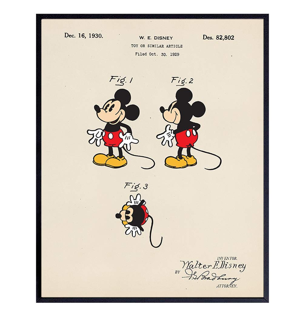Mail order cheap Authentic Mickey Purchase Mouse Patent Wall Art Print Vintage - Unfr 8X10