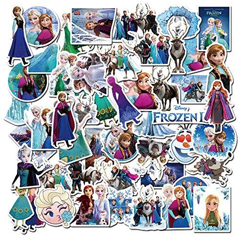 50 Pcs Frozen Stickers, Movie Themes Waterproof Vinyl Sticker for Water Bottles Laptop Bike Car Refrigerator Luggage Cup Computer Phone Locker Skateboard Frozen Anna and Elsa Stickers Decals