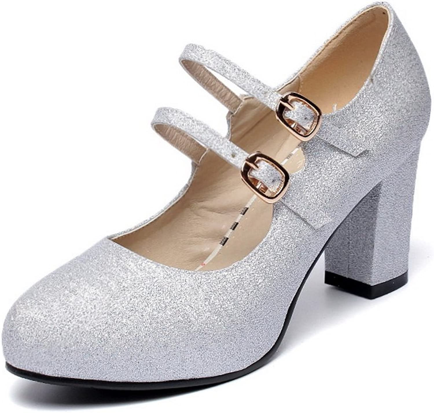 BalaMasa Womens Chunky Heels Double Breasted Low-Cut Uppers Imitated Leather Pumps-shoes