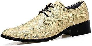 TAZAN Derbies Robe Hommes Bretelles Pointues Chaussures HabilléEs Motif De Peau De Serpent Mariage Uniforme Travail Anglet...