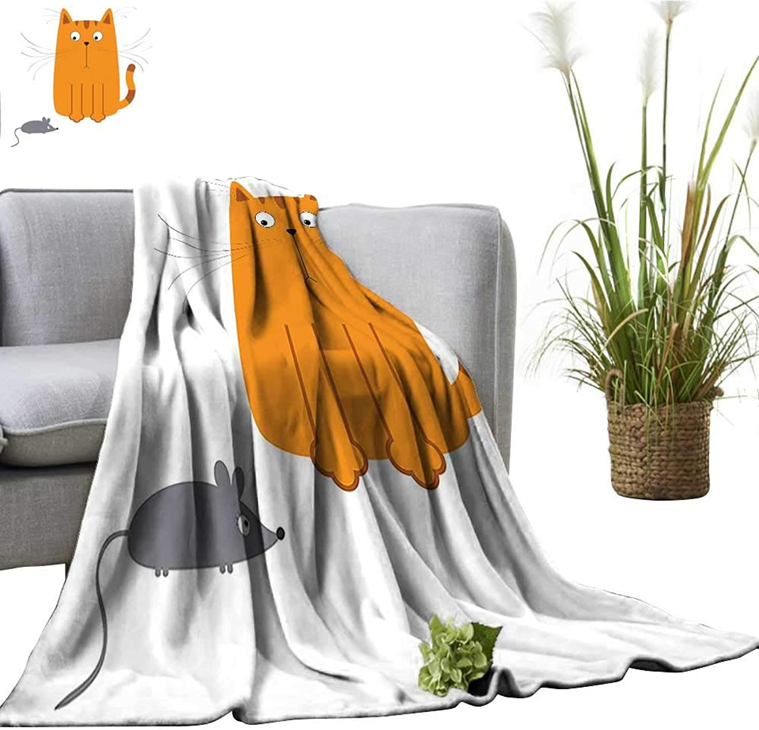 YOYI Super Soft Blanket Cat Looking at Mouse Hunter Kitty Fun Humor Kids Animal Graphic Art Print Bedsure Flannel 50 x70