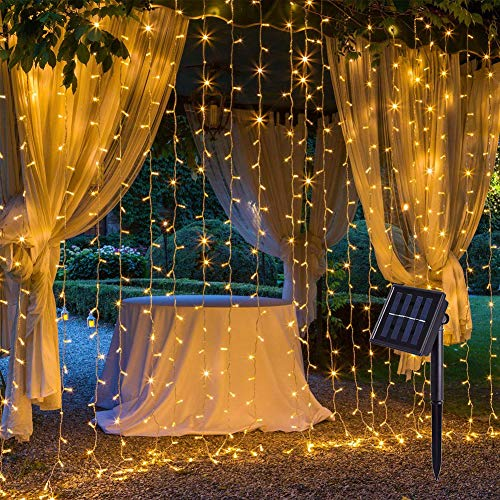 200 LED Solar Operated Fence String Lights, 2m x 2m Outdoor Fairy Curtain Lights with 8 Modes & IP44 Waterproof, Window Waterfall String Lights for Bedroom, Wedding, Christmas (Warm Wihte)